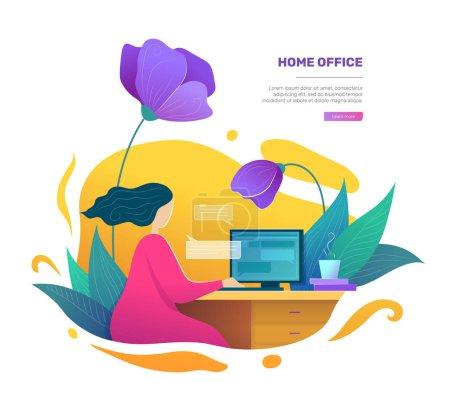 Illustration pour Concept moderne d'espace de bureau à domicile dans un style plat. Femme indépendante utilisant un ordinateur de bureau. Femme d'affaires travaillant à la maison illustration vectorielle. Affiche Freelance et éducation au travail à domicile - image libre de droit