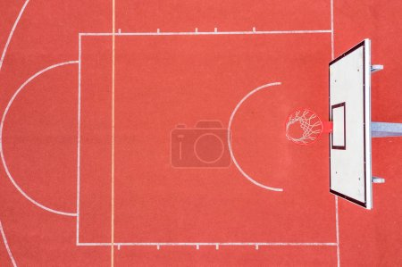 Photo for High Angle View Of Empty Basketball Court. Aerial view - Royalty Free Image