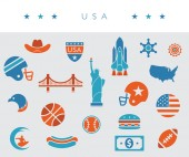 USA / America icon set - orange white and blue - vector illustration