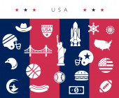 USA / America icon set - red white and blue - vector illustration