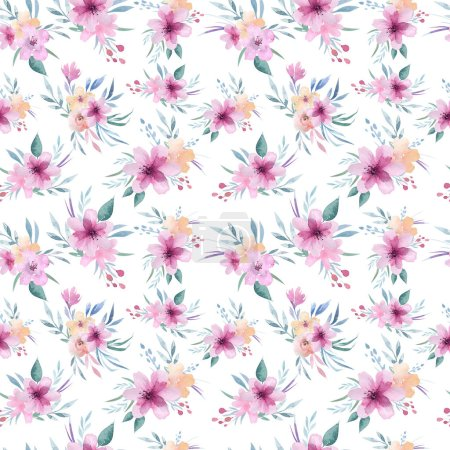 Floral pattern with pink flowers and green leaves in boho style
