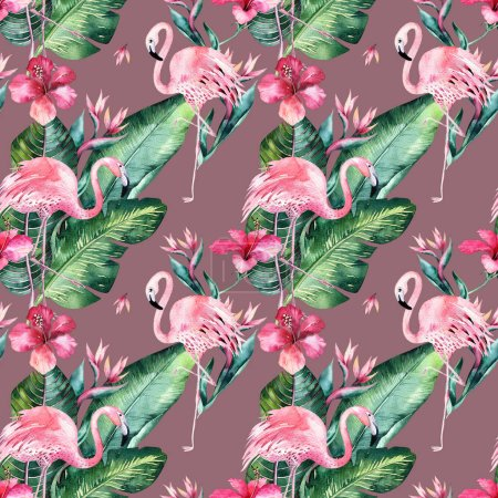 Tropical seamless floral summer pattern background with tropical palm leaves, pink flamingo bird, exotic hibiscus. Perfect for wallpapers, textile design, fabric print.