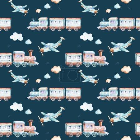 Baby boys world. Cartoon airplane, plane and waggon locomotive watercolor illustration patterns. Child toys birthday backgraund transport elements seamless pattern