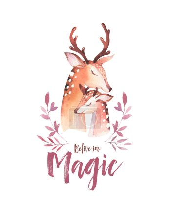 Cute watercolor baby deer animal , nursery isolated illustration for children clothing, pattern. Watercolor Hand drawn boho image Perfect for phone cases design, nursery posters,