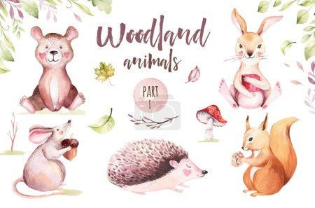 Photo for Cute baby animal nursery mouse, rabbit and bear isolated illustration for children. Watercolor boho forest drawing squirrel, watercolour, hedgehog image Perfect for nursery posters, pattern - Royalty Free Image
