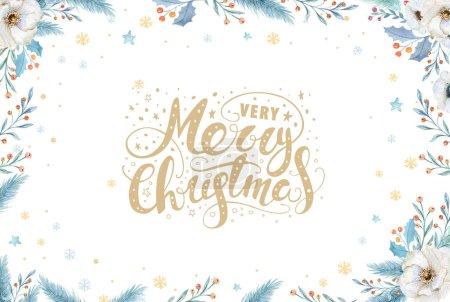 Photo pour Couronne de Noël aquarelle avec branches de sapin et texte de lettrage. Cartes de voeux du Nouvel An et invitations isolées sur fond blanc . - image libre de droit