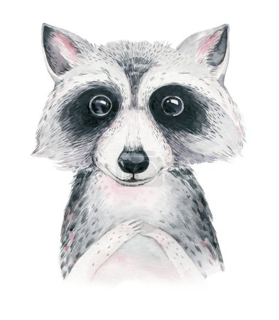 Photo for Watercolor cartoon isolated cute baby raccoon animal with flowers. Forest nursery woodland illustration. Bohemian boho drawing for nursery poster, patterns - Royalty Free Image