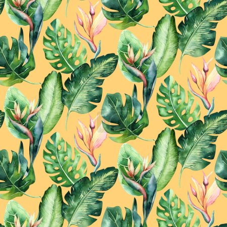 Photo for Seamless watercolor pattern of tropical leaves, aloha jungle illustration. Hand painted palm leaf. Texture with tropic summer time used as background, wrapping paper, textile or wallpaper design. - Royalty Free Image