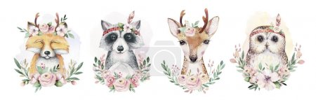 Photo for Watercolor set of forest cartoon isolated cute baby fox, deer, raccoon and owl animal with flowers. - Royalty Free Image