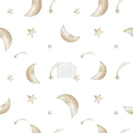 Ilustración de acuarela aislada de estrellas de oro amarillo y naranja textura de fondo patrón inconsútil luna. Diseño de tela