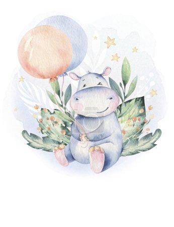 Photo pour Mignon dessiné à la main isolé tropical été aquarelle hippopotame animaux. hippopotame bébé et mère dessin animé animaux illustrations, arbre jungle, brésil design tendance. - image libre de droit