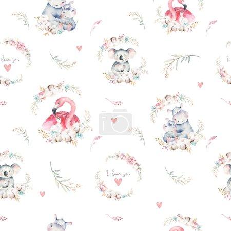 Photo pour Aquarelle mignon dessin animé petit bébé et maman koala, hippopotame, flamant rose avec motif sans couture couronne florale. toile tropicale fond. Conception mère et bébé. Animaux - image libre de droit