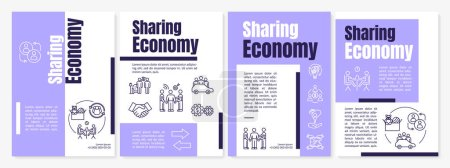 Photo for Sharing economy brochure template. Peer to peer services exchange flyer, booklet, leaflet print, cover design with linear icons. Vector layouts for magazines, annual reports, advertising posters - Royalty Free Image