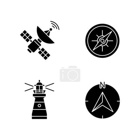 Photo pour Navigation icônes glyphe noir sur espace blanc. Symboles de silhouette de navigation maritime et radiolocalisation. Satellite spatial, boussole marine, phare et flèche de navigation. illustrations isolées vectorielles - image libre de droit