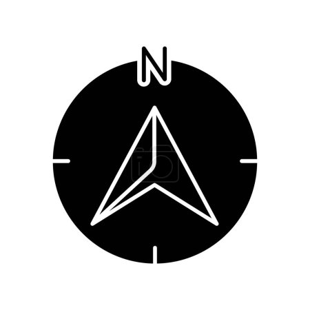 Photo for Navigator arrow black glyph icon. Modern navigation technology, global positioning system, geolocation silhouette symbol on white space. GPS guide cursor pointing to north vector isolated illustration - Royalty Free Image