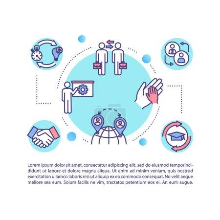 Photo pour Icône de concept d'échange d'étudiants internationaux avec texte. Transfert à l'étranger pour l'éducation Modèle de page PPT. Brochure, magazine, livret élément design avec illustrations linéaires - image libre de droit