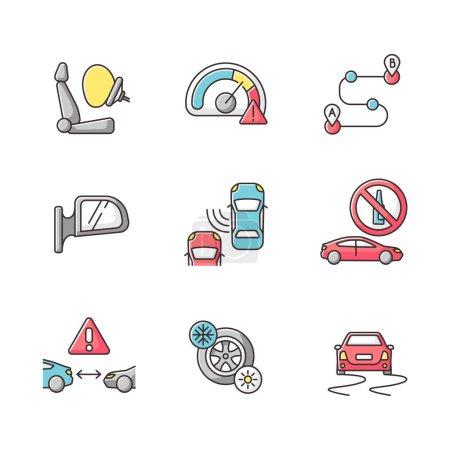 Photo pour Conduite sûre icônes couleur RVB ensemble. Avertissement des risques de voyage en voiture, précautions du conducteur. Règles de circulation et mesures de sécurité sur les routes. Illustrations vectorielles isolées - image libre de droit