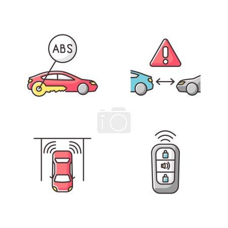 Photo pour Systèmes de sécurité de conduite intelligents Icônes couleur RVB réglées. Assistance au conducteur. Système antiblocage, régulateur de vitesse, capteur de stationnement, entrée sans clé. Illustrations vectorielles isolées - image libre de droit