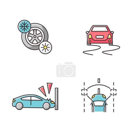 Photo pour Mesures de sécurité de voiture icônes de couleur RVB ensemble. Assistance au conducteur. Pneumatiques saisonniers, crash test, contrôle de stabilité et systèmes de maintien de voie. Illustrations vectorielles isolées - image libre de droit