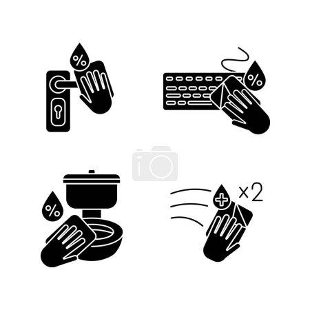 Photo pour Nettoyage de surface icônes glyphe noir mis sur l'espace blanc. Bouton de porte, clavier et désinfection laborieuse avec lingettes antibactériennes. Ménage corvées silhouette symboles. Illustrations vectorielles isolées - image libre de droit