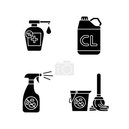 Photo pour Produits de nettoyage icônes glyphe noir mis sur l'espace blanc. Fournitures sanitaires, symboles de silhouette hygiénique. Désinfectants antibactériens, différents détergents et désinfectants. Illustrations vectorielles isolées - image libre de droit