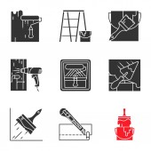 Different construction tools icons set