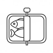 Sprats linear icon Thin line illustration Canned fish Contour symbol Vector isolated outline drawing