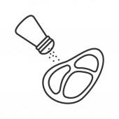Salting steak linear icon Thin line illustration Pepper or salt shaker with beefsteak Contour symbol Vector isolated drawing