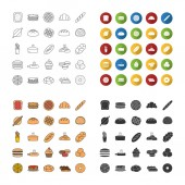 Bakery icons set Pastry Confectionery Bread buns cookies macaron pancakes Linear flat design color and glyph styles isolated vector illustrations