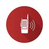 Walkie talkie flat design long shadow glyph icon Police radio Vector silhouette illustration
