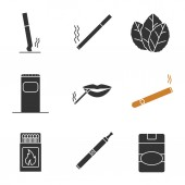 Smoking glyph icons set Stubbed out and burning cigarettes tobacco leaves garbage bin smokers mouth cigar matchbox vape cigarette pack Silhouette symbols Vector isolated illustration