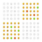 Smiles icons set Emoticons Feelings emotions Linear flat design color and glyph styles isolated vector illustrations