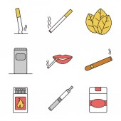 Smoking color icons set Stubbed out and burning cigarettes tobacco leaves garbage bin smoker's mouth cigar matchbox vape cigarette pack Isolated vector illustrations