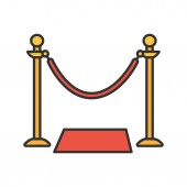 Grand opening ribbon color icon Red carpet Isolated vector illustration