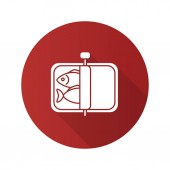 Sprats flat design long shadow glyph icon Canned fish Vector silhouette illustration