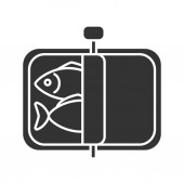 Sprats glyph icon Canned fish Silhouette symbol Negative space Vector isolated illustration