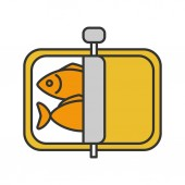 Sprats color icon Canned fish Isolated vector illustration