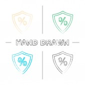 Shield with percent hand drawn icons set Insurance Safe investment Color brush stroke Isolated vector sketchy illustrations