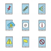Smartphone color icons set File attach link content sharing cloud storage e-mail info error GPS navigation no signal Isolated vector illustrations