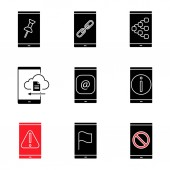 Smartphone glyph icons set File attach link content sharing cloud storage e-mail info error GPS navigation no signal Silhouette symbols Vector isolated illustration