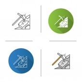 Pickaxe breaking mountain icon Mining Navvy pick Flat design linear and color styles Isolated vector illustrations