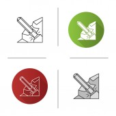 Iron chisel icon Rock breaking chisel Flat design linear and color styles Isolated vector illustrations