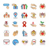 Charity color icons set Donation Fundraising helping hands volunteering humanitarian aid Isolated vector illustrations