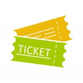 Tickets flat glyph color icon Cinema flight or sport event tickets Silhouette symbol on white background with no outline Negative space Vector illustration