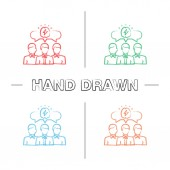 Team brainstorming hand drawn icons set Color brush stroke Teamwork Collective problem solving Thinking process Generating idea Isolated vector sketchy illustrations