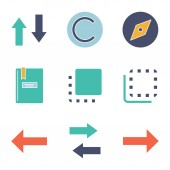 UI/UX glyph color icons set Vertical and horizontal swap copyright explore notepad flip to front and back backspace next Silhouette symbols with no outline Negative space Vector illustration