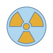Nuclear energy color icon on white background