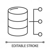 Relational database linear icon on white background