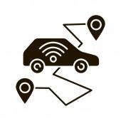 Self driving car glyph icon smart navigation