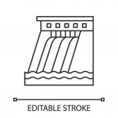 Hydroelectric dam linear icon